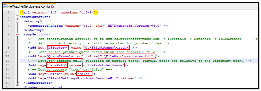 Application configuration edit example file