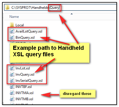 Handheld query files path example